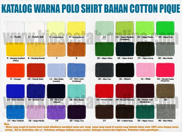 Katalog warna BAHAN POLO Shirt - Cotton Pique