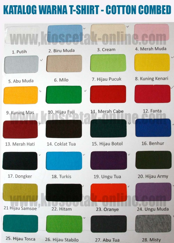 WARNA BAHAN COTTON COMBED