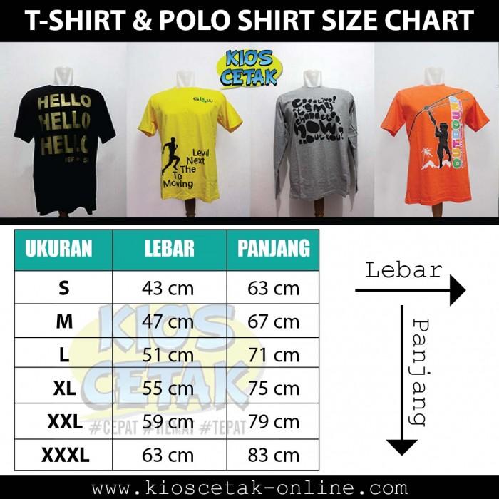 Ukuran Tshirt dan Polo shirt 10cm